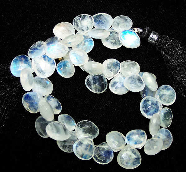 180.70 cts Blue Flashy White Rainbow Moonstone Heart Briolette Drop (48 Pcs) Beads Layout 9 x 12 MM  > For Necklace, Bracelet etc...