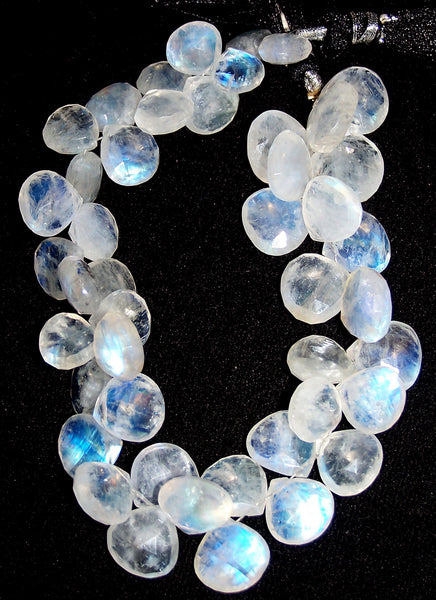 226.50 cts Blue Flashy White Rainbow Moonstone Heart Briolette Drop (45 Pcs) Beads Layout 9 x 13.7 MM  > For Necklace, Bracelet etc...