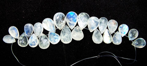 154.80 cts Blue Flashy White Rainbow Moonstone Almond Pear Briolette Drops (23 Pcs) Beads Mini - Layout 9.5 x 19 MM  > For Necklace, Earrings etc...