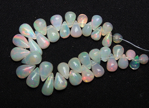 30 cts Insane Rainbow Fire Milky & Transparent Ethiopian Welo Opal Tear Drop (38 Pcs) Beads Layout 4.5 to 10 MM