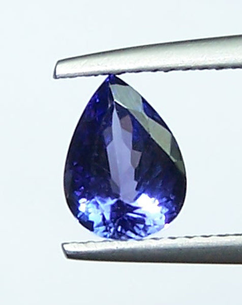 1.45 Cts Medium Blue Tanzanite Faceted Pear D Block AAA Natural Gemstone > For Engagement Ring,Pendant,Bracelet and more...