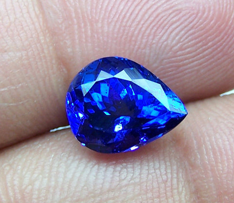 Unique Calibrated 9 x 11 MM Certified Natural Loose Tanzanite Pear, D Block AAA Gemstone > Rich Blue >For Engagement Ring,Pendant,Bracelet, Necklace and more...