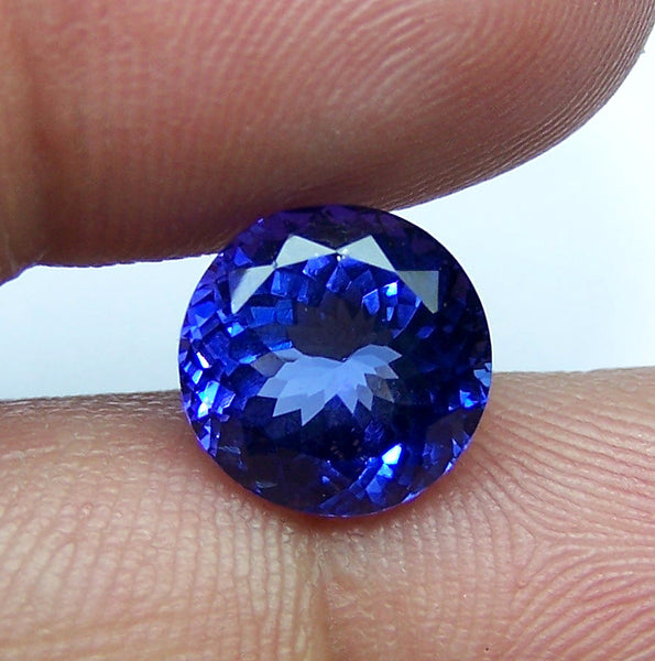 Masterpiece 10 MM Round Cut Certified Natural Loose Tanzanite D Block AAA Gemstone > Cornflower Blue : For Engagement & Bridal Ring, Bracelet, Pendant and more...