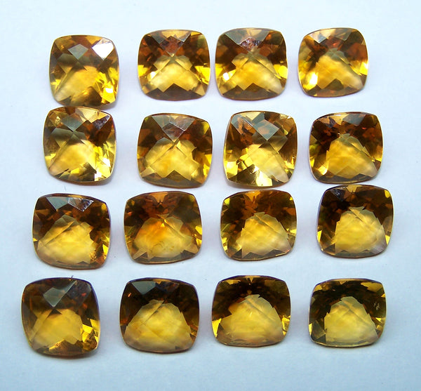 Masterpiece 9 x 9 mm Checker Board Cut Golden Citrine Gemstone C 1 Shade AAA,Antique Cushion,100 % Natural : Wholesale Lot/Parcel