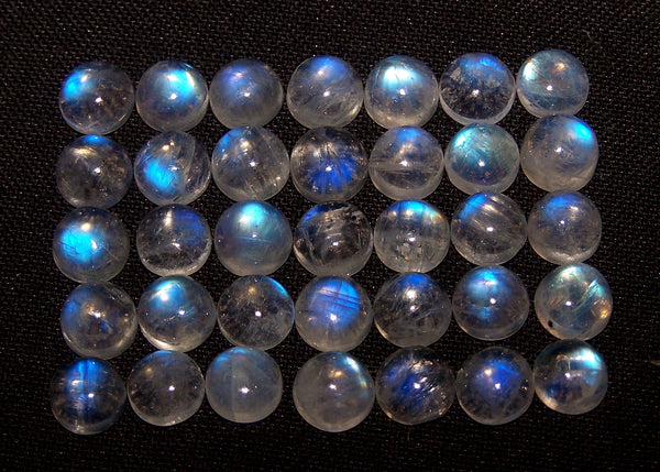 Masterpiece Blue Flashy White Rainbow Moonstone Calibrated 7 mm Round Cabochon Loose Gem, 100 % Natural Gems AAA (1 Piece) Per Order
