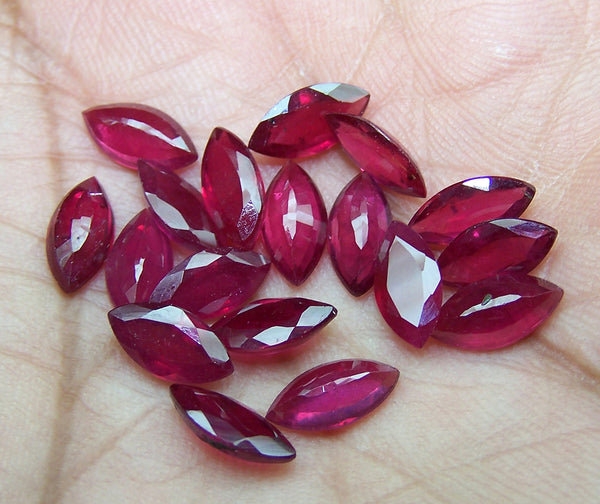 Masterpiece 5 x 10 MM Mozambique Ruby Faceted Markis, Great color & Transperancy, Loose(6 Pcs)Wholesale Lot/Parcel AAA