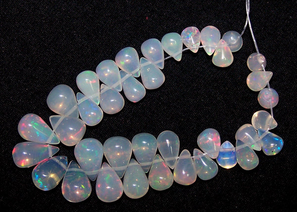 23 cts Multi Rainbow Fire Transparent Ethiopian Welo Opal Tear Drops (37 Pcs) Beads Mini-Layout 4.4 x 4.7 to 5 x 9 MM AAA