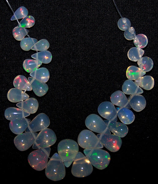 23.30 cts Multi Rainbow Fire Transparent Ethiopian Welo Opal Tear Drops (38 Pcs) Beads Layout 4x5.5 to 6.5 x 8.5 MM AAA