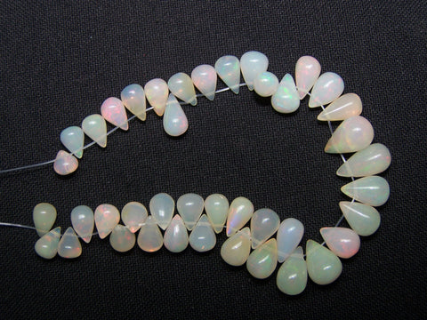 33 cts Multi Rainbow Fire Milky Ethiopian Welo Opal Tear Drop Beads Layout 4.5 to 11 MM > For Necklace