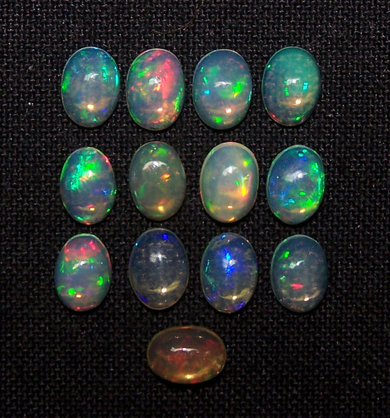 5 x 7 MM Ethiopian Welo Opal Oval Cabochon, Insane Rainbow Fire Metallic Color Play AAA, Milky & Transparent, (13 Pc) Wholesale Lot/Parcel