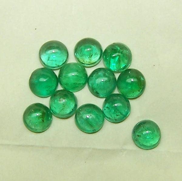 100 % Natural Lush Green Shade of Masterpiece Calibrated 3 mm to 4 MM Round Smooth Cabochons of Brazilian Emerald, Loose Gemstone