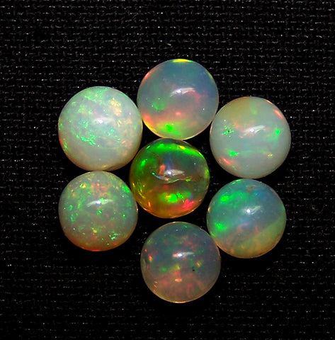 Ultra Rare 5.20 Cts Insane Multi Rainbow Fire Ethiopian Welo Opal Round Sphere Balls, (7 Pcs), 5.2 - 5.7 MM