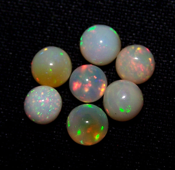 Masterpiece Ultra Rare Insane Multi Rainbow Fire Ethiopian Welo Opal Round Sphere Balls, (7 Pcs), 5 - 5.5 MM AAA