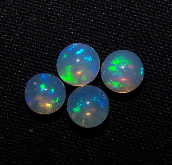 Masterpiece Ultra Rare Insane Electric Blue Fire Transparent Ethiopian Welo Opal Round Sphere Balls, (4 Pcs), 5.5 - 5.9 MM AAA