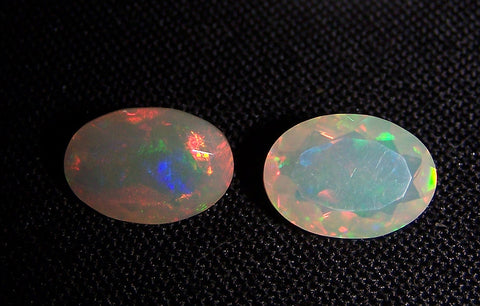 3.60 cts Insane Metallic Rainbow Fire Color Play Ethiopian Welo Opal Faceted Ovals Loose Gemstone AAA : Matched pair for Earrings