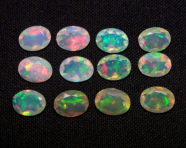 6 x 8 MM Faceted Ethiopian Welo Opal Ovals, Insane Rainbow Fire Metallic Color Play AAA, Milky & Transparent, (12 Pc) Wholesale Lot/Parcel