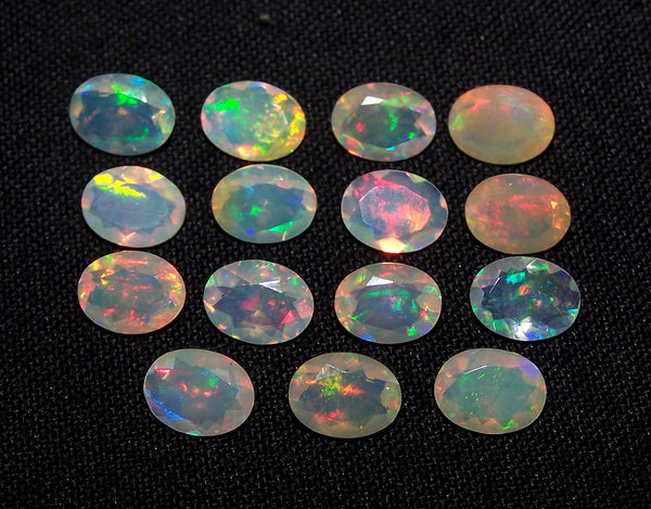 Insane Rainbow Fire Metallic Color Play 6 x 8 MM Faceted Ethiopian Welo Opal Ovals AAA, Milky & Transparent, Wholesale Lot/Parcel