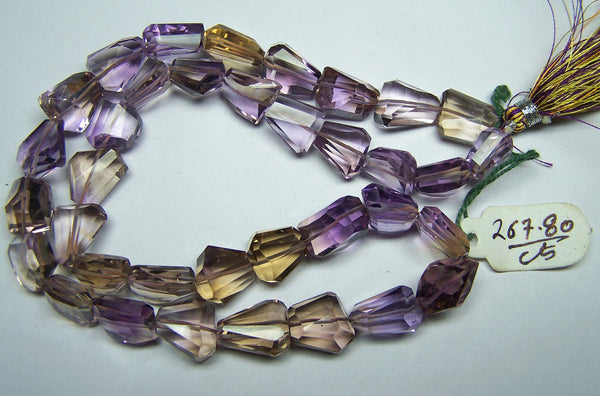 Unique 267 Cts Natural Ametrine (Amethyst & Citrine Bio) Faceted Tumble/Nugget Beads AAA (36 Pcs) Ful/l 18 inch Strand > Bracelet, Earrings