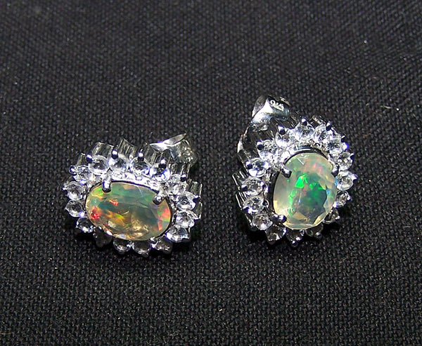 Insane Multi Rainbow Fire Ethiopian Opal 7*9 MM, Faceted Oval & White Topaz Cluster Silver Ear-Stud
