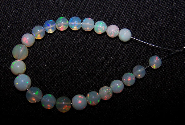 Ultra Rare 10 Cts Insane Multi Rainbow Fire Ethiopian Welo Opal Round Sphere Balls, 22 Pieces, Mini-String 4.3 - 5.4 MM
