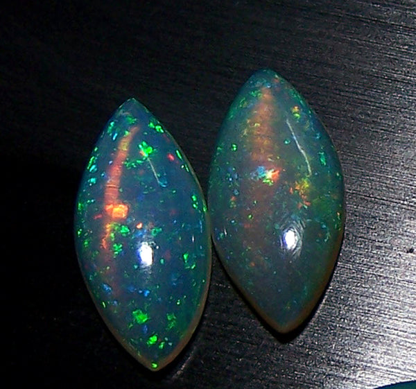 Masterpiece Collection : 7 x 14 MM Marquees Cabochons of Insane Metallic Rainbow Fire Color Play Ethiopian Welo Opal, Loose(1 Pair), Milky & Transparent AAA
