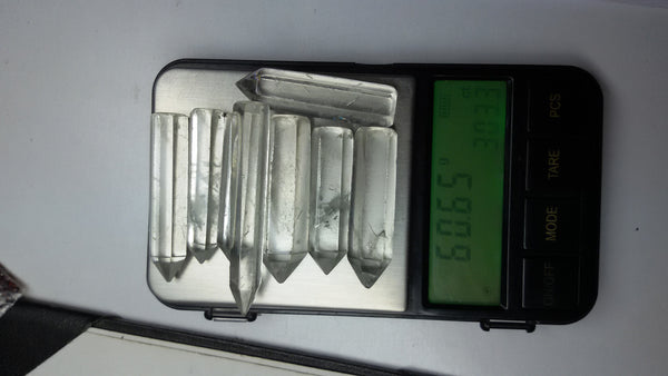 60.65 gms SI quality of Brazil Crystal Quartz Faceted Points/Pencils - 8 pieces, Wholesale Lot/Parcel