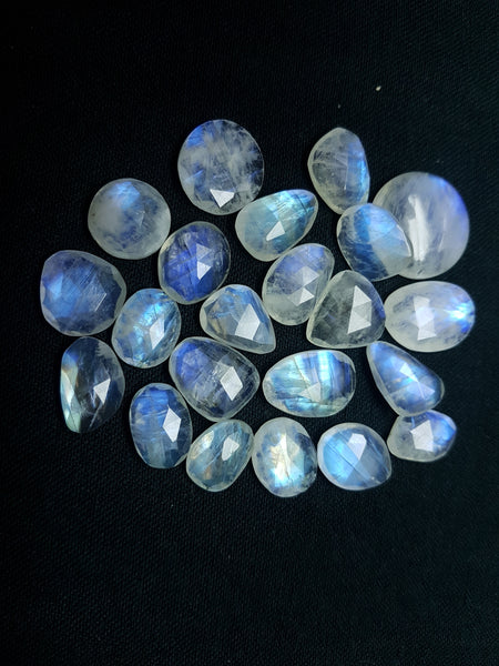 114.30 cts Blue Flashy White Rainbow Moonstone Faceted Slice Gems, Wholesale Parcel/Lot of Free Form Loose Gems,100 % Natural AAA
