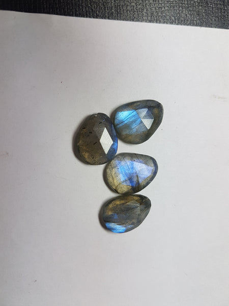 85.14 cts Blue Flashy Labradorite 20 pieces Rose Cut Faceted Slice Gems, Wholesale Parcel/Lot of Free Form Loose Gems,100 % Natural AAA