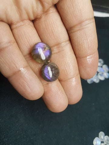 Masterpiece Collection : 15 mm Round Natural Purple/Pink Fire Labradorite Rose Cut Round Faceted Cabochon Gems > Wholesale Parcel/Lot