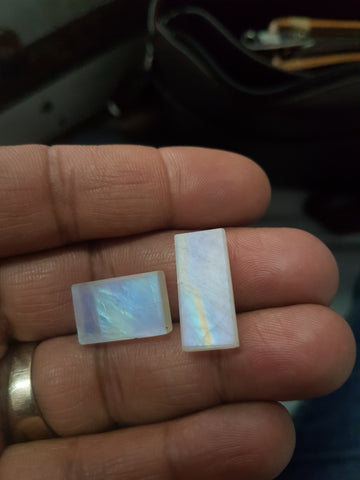 Masterpiece Collection : 14 x 9 mm Baguette Pre-Form faceted gem of Natural Multi Fire Rainbow Moonstone Gems > Ideal for Step Cut Faceting over Gems > Wholesale Parcel/Lot
