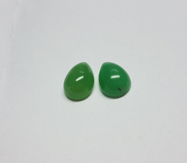 Masterpiece Collection : Premium Emerald Green 6 x 9 MM African Chrysophrase Pear Cabochon, Semi-Translucent to Opaque Loose Gemstone Lot/Parcel AAA