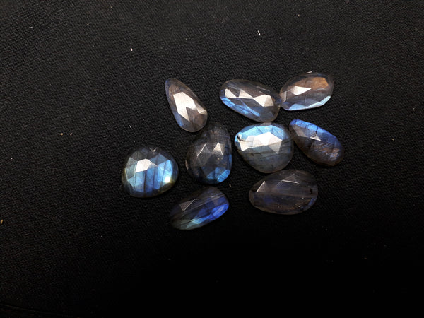 84.10 cts Blue Flashy Large Labradorite 10 pieces Rose Cut Faceted Slice Gems, Wholesale Parcel/Lot of Free Form Loose Gems,100 % Natural AAA