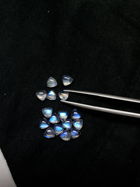 Masterpiece Blue Flashy White Rainbow Moonstone Calibrated 5 x 5 mm Trillion Cabochon Loose Gem, 100 % Natural Gems AAA