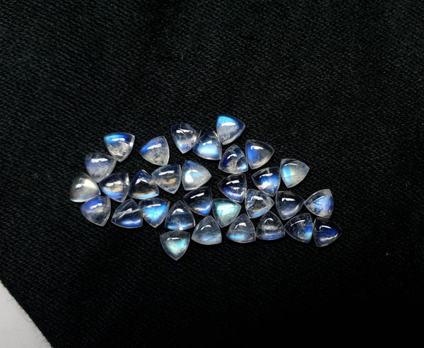 Masterpiece Blue Flashy White Rainbow Moonstone Calibrated 4 x 4 mm Trillion Cabochon Loose Gem, 100 % Natural Gems AAA