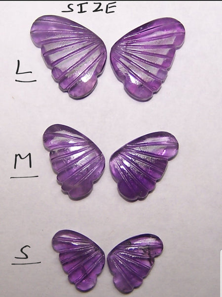 African Amethyst Fancy Butterfly Wings Shaped Hand Carved Gems, Sample Pieces Loose Gems,100 % Natural AAA