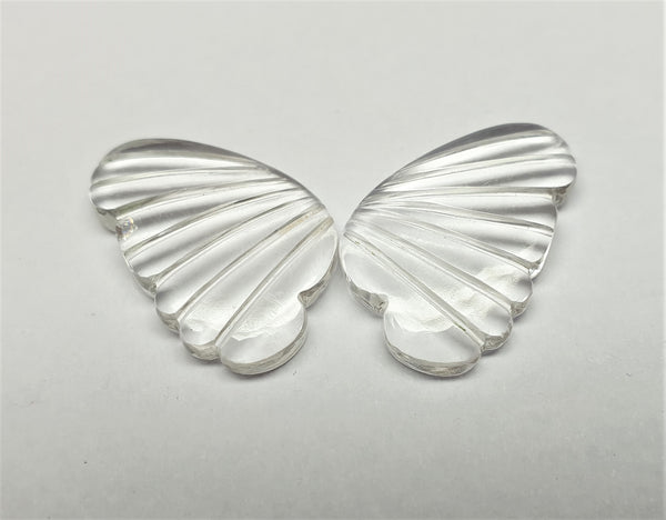 Crystal Quartz Fancy Butterfly Wings Shaped Hand Carved Gems, Sample Pieces Loose Gems,100 % Natural AAA