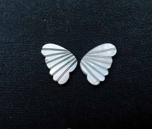 Black/Grey MOP (Mother Of Pearl) Fancy Butterfly Wings Shaped Hand Carved Gems, Sample Pieces Loose Gems,100 % Natural AAA