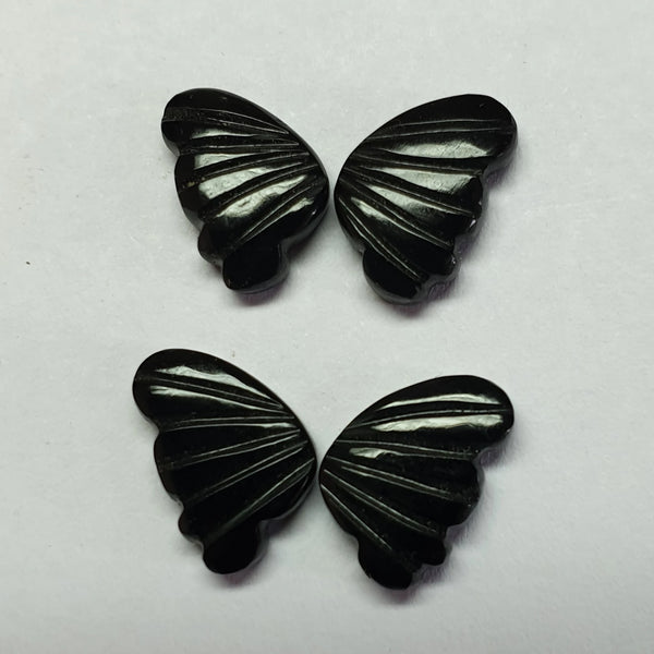 Custom Made - Black Onyx Opaque, Fancy Butterfly Wings Shaped Hand Carved Gems, Sample Pieces Loose Gems,100 % Natural AAA