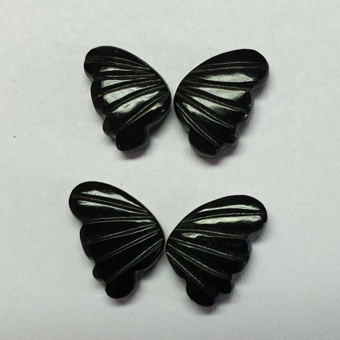Black Onyx Opaque, Fancy Butterfly Wings Shaped Hand Carved Gems, Sample Pieces Loose Gems,100 % Natural AAA