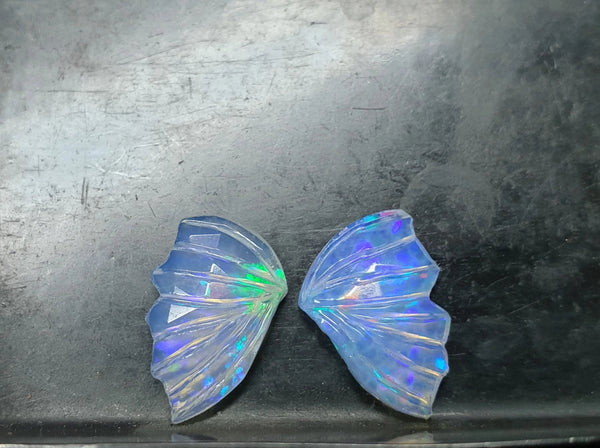Multi Rainbow Fire Ethiopian Welo Opal Hand Carved Butterfly Wings/ Jewelry/ Necklace/ Pendant/ Ring/ Loose Gem Wings/ AAA