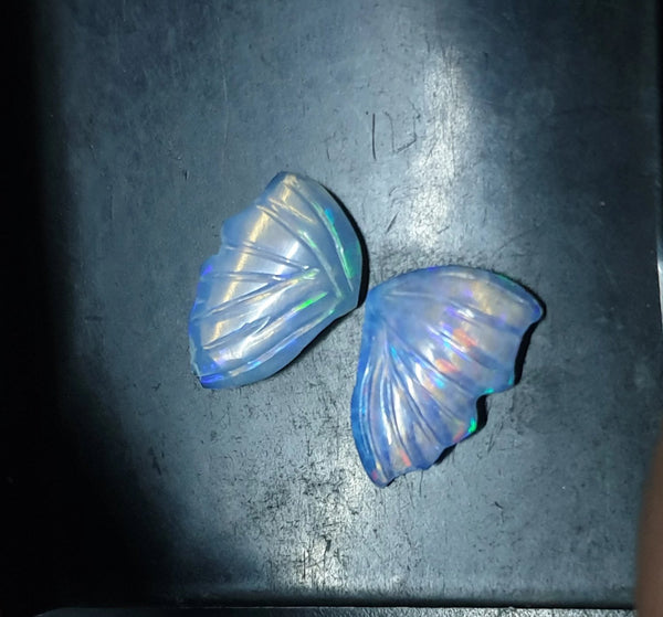Electric Blue-Green Multi Fire Ethiopian Welo Opal Butterfly Wings/ Hand Carved /Jewelry/ Necklace/ Pendant/ Ring/ Loose Gem Wings/ AAA