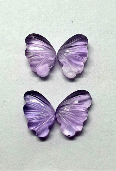 Brazil Amethyst Fancy Butterfly Wings Shaped Hand Carved Gems, Sample Pieces Loose Gems,100 % Natural AAA