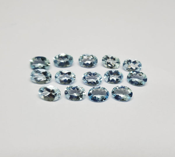 Masterpiece Collection : Aquamarine 7 x 5 mm Faceted Ovals, 10 Piece Parcel/Lot of Loose Gems,100 % Natural Gems AAA