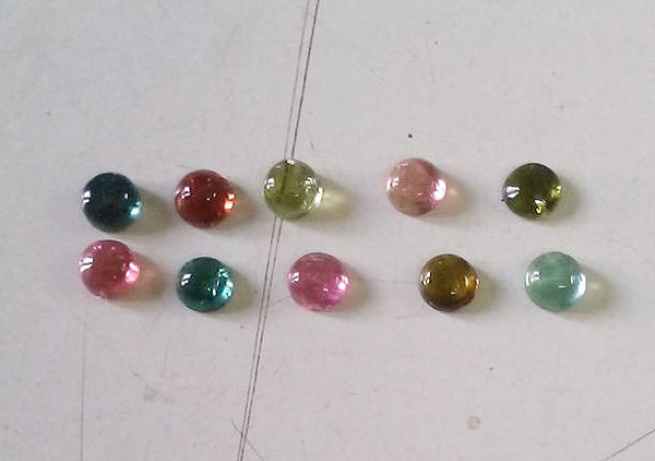 Amazing Hot Multi Tourmaline 4 mm Calibrated Round Smooth Cabochons from Brazil, 100 % Natural Loose Gemstone