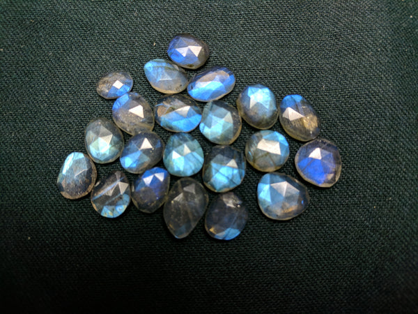 51.65 cts Blue Flashy Labradorite Rose Cut Faceted Slice Gems, Wholesale Parcel/Lot of Free Form Loose Gems,100 % Natural AAA