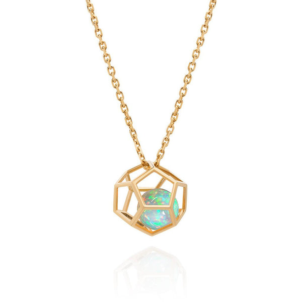 Masterpiece 18 K Yellow Gold Hexagon Cage Pendant for Floating Ethiopian Welo Opal Round Sphere Ball > Fine Jewelry
