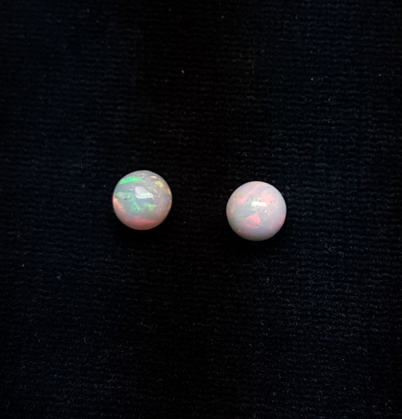Masterpiece Ultra Rare Insane Multi Rainbow Fire Color Play Ethiopian Welo Opal : Pair : Smooth 7 MM Round Sphere Balls, (2 Pcs) AAA Wholesale Lot / Parcel