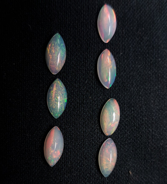 Masterpiece Collection : 5 x 10 mm Rainbow Fire Color Play Milky Ethiopian Welo Opal Marquees Cabochon Loose(7 Pcs), Milky & Transparent, Wholesale Lot/Parcel AAA