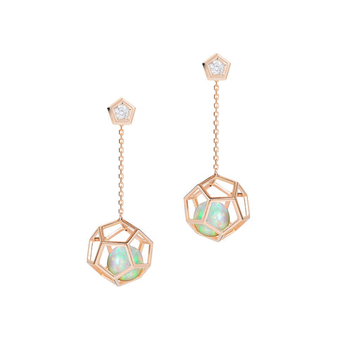 Masterpiece 18 K Yellow Gold Hexagon Cage Hanging Earrings for Floating Ethiopian Welo Opal Round Sphere Balls > Fine Jewelry