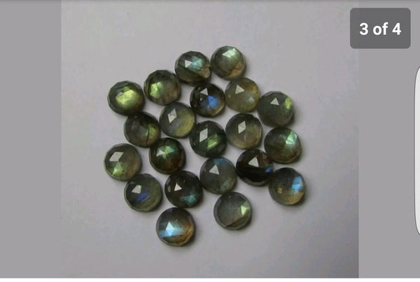 Masterpiece Collection : 7 mm Round Pre-Form Cabochons of Natural Blue Flashy Labradorite Gems > Ideal for Rose Cut Faceting over Gems > Wholesale Parcel/Lot